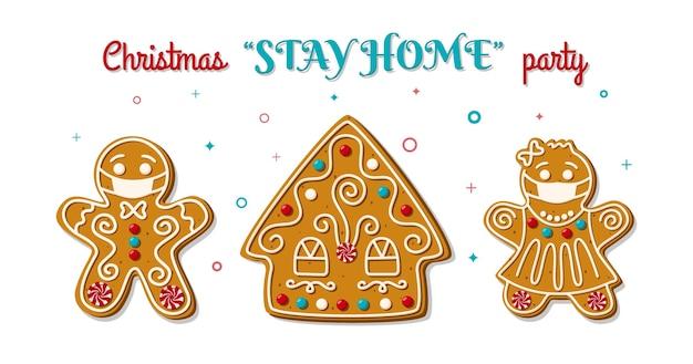 Kerst peperkoek man en vrouw in gezichtsmasker op verblijf thuis feest. zelfgemaakte koekjes.