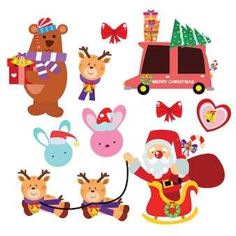 Kerst pictogram, elementen en decoratie