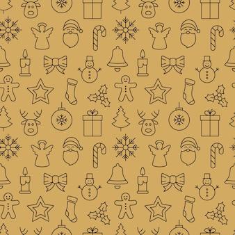 Kerst pictogram patroon naadloze elementen gouden achtergrond