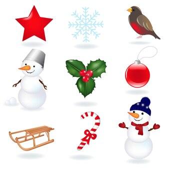 Kerst pictogrammen illustratie geïsoleerd