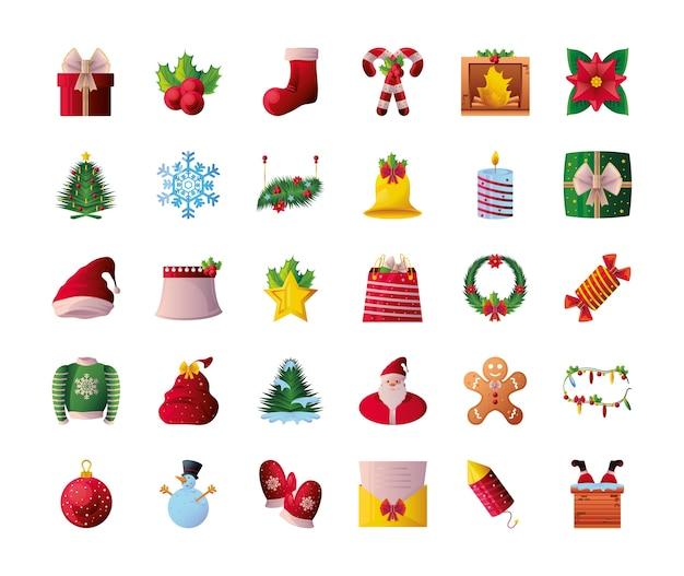 Kerst pictogrammenset op witte achtergrond