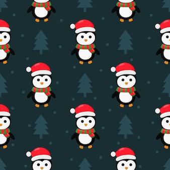 Kerst pinguïns naadloze patroon op blauw