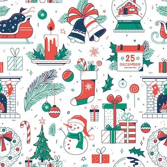 Kerst plat naadloos patroon