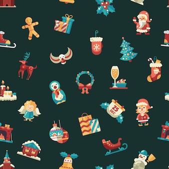 Kerst plat ontwerppatroon met pictogrammen