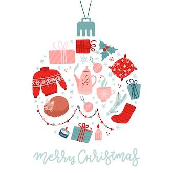 Kerst plat pictogrammen instellen cirkelvormig. vakantieartikelen in de vorm van kerstbal.