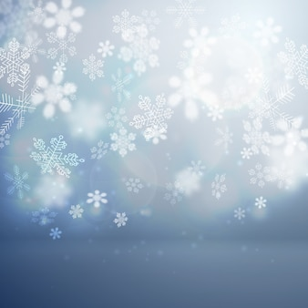Kerst platte achtergrond met vallende sneeuwvlokken vector illustratie