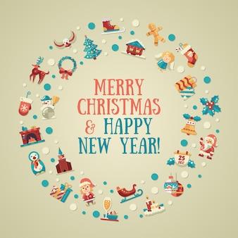 Kerst platte ontwerp ansichtkaart met pictogrammen