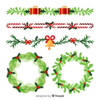 Kerst platte randen en kransen