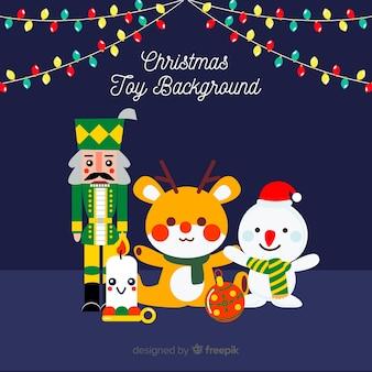 Kerst platte speelgoed achtergrond