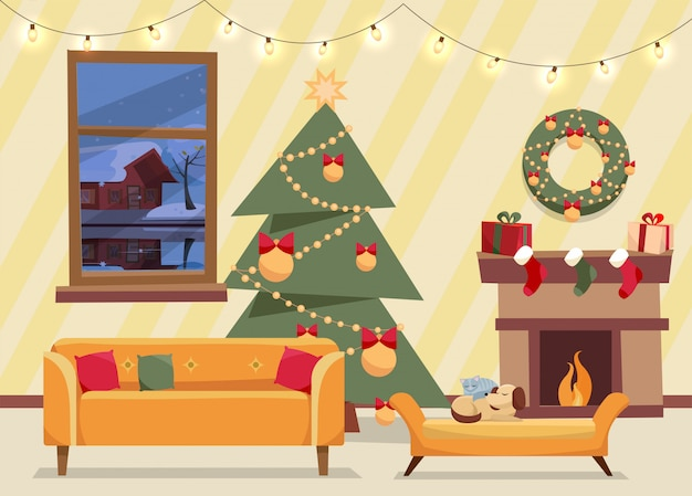 Kerst platte vector van ingerichte woonkamer. gezellig interieur met meubels, bank, raam naar winteravond landschap, kerstboom met geschenken, slinger, open haard