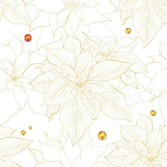Kerst poinsettia naadloze patroon. poinsettia bladeren met gouden lijn.