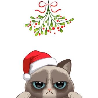 Kerst portret van schattige kat karakter