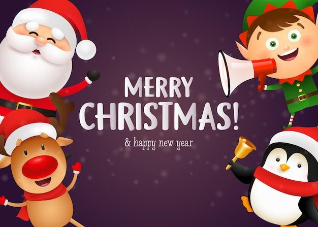 Kerst postkaart ontwerp met schattige rendieren