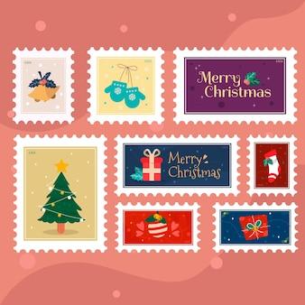 Kerst postzegelcollectie in plat ontwerp