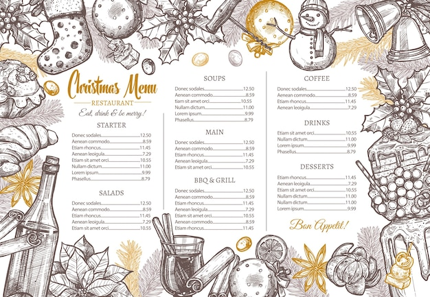 Kerst prettige vakantie lay-out van feestelijk menu voor feestelijk diner.
