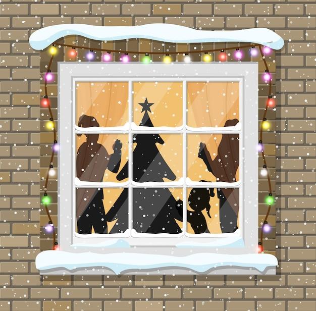 Kerst raam met boom silhouet