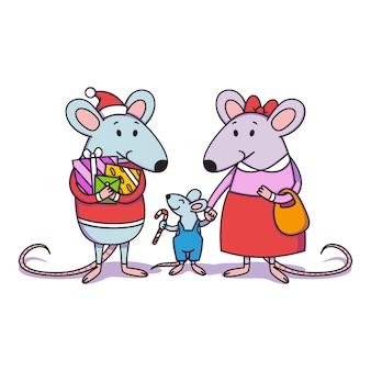 Kerst rattenfamilie. vader met geschenken, moeder houdt een kind bij de hand, een kleine jongen met snoepgoed. gelukkig chinees nieuwjaar muizen.