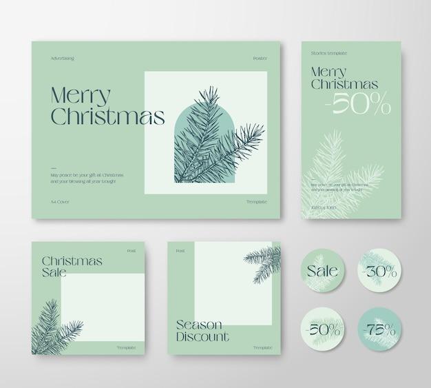 Kerst reclame trendy bewerkbare sjablonen set. pijnboomtakken en typografie voor sociale netwerken hoogtepunten van verhalen en achtergronden van berichten. wenskaarten of banners voor de feestdagen op sociale media