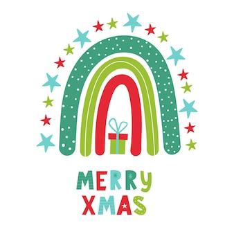 Kerst regenboog met hand belettering merry xmas vector handgetekende kleur kinderillustratie