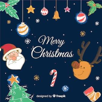 Kerst rendier santa claus rendieren achtergrond Gratis Vector