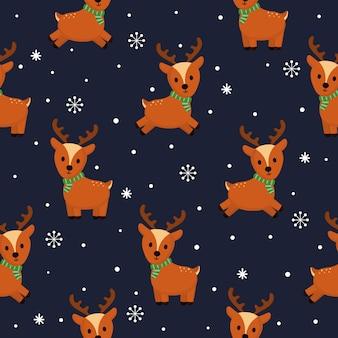 Kerst rendieren naadloze patroon op blauwe achtergrond.