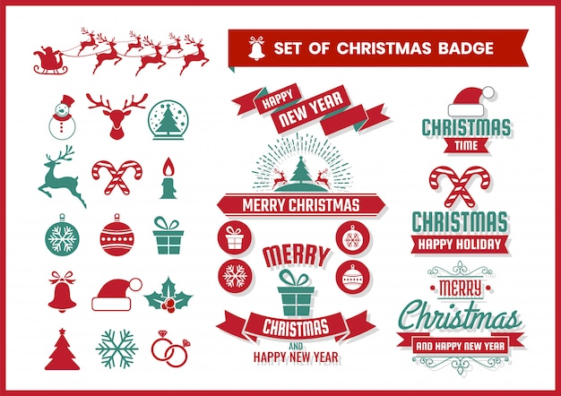 Kerst retro badge en elementen instellen