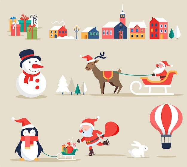 Kerst retro clipart, elementen en illustraties