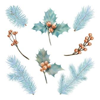 Kerst rode bessen en pijnboomtakken