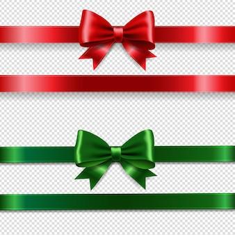 Kerst rode en groene boog set en transparante achtergrond