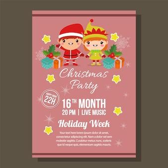 Kerst rode feestbrochure met kinderkostuum