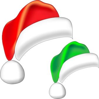 Kerst rode kerstman hoed en kerst elf groene bel geïsoleerd op een witte achtergrond
