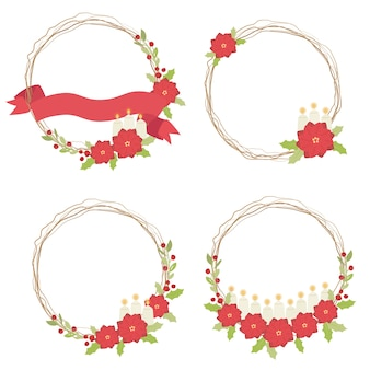Kerst rode poinsettia bloem met kaars en droge takje en lint krans frame collectie illustratie