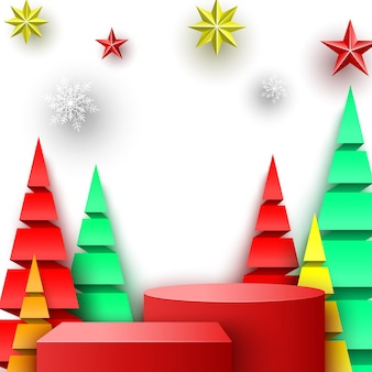Kerst rood podium met sterren, sneeuwvlokken en papier bomen. beursstand. voetstuk. vector illustratie.