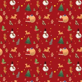 Kerst rood santa handgetekend patroon