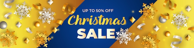 Kerst sale banner, gouden sneeuwvlokken en streamers