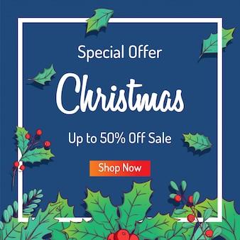 Kerst sale banner om te winkelen sale of promo met kleurrijke bladeren