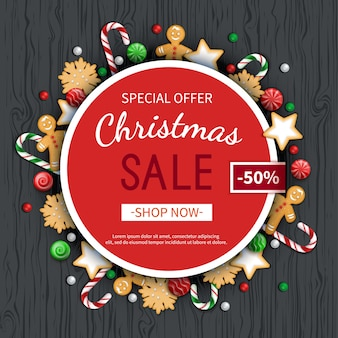 Kerst sale flyer posterkaart label achtergrond banner op cirkelframe speciale seizoensaanbieding