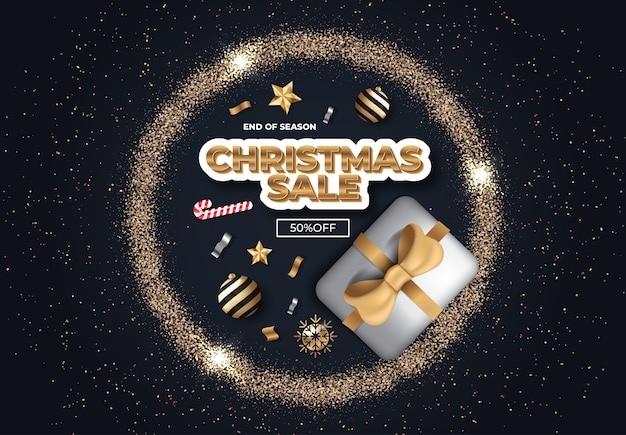 Kerst sale sjabloon voor spandoek met modern design