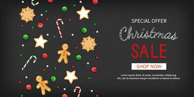 Kerst sale speciale aanbieding banner winter feestelijke traditionele zoetigheden