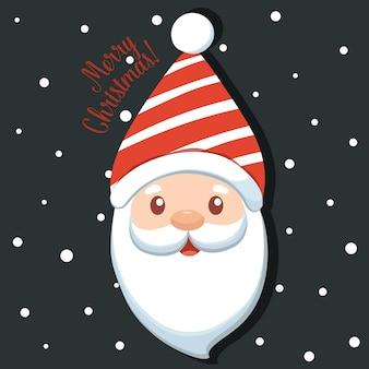 Kerst santa claus cartoon. prettige kerstdagen en gelukkig nieuwjaar wenskaart. illustratie.