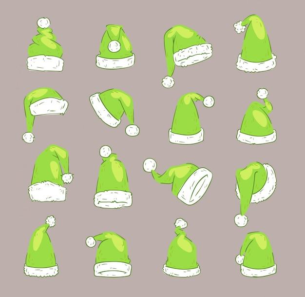 Kerst santa claus groene elf hoed noel illustratie nieuwjaar christenen xmas feestdecoratie hoeden Premium Vector