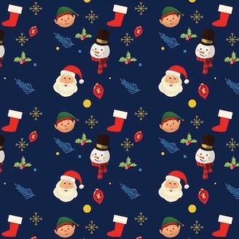 Kerst santa hand getekende patroon
