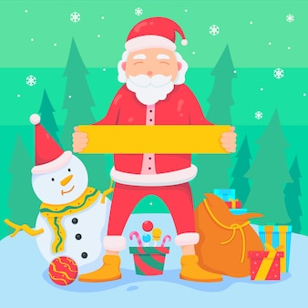 Kerst santa karakter bedrijf leeg banner