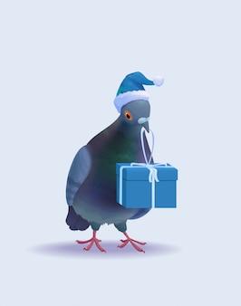 Kerst santa pigeon
