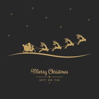 Kerst santa slee vliegen gouden zwarte achtergrond