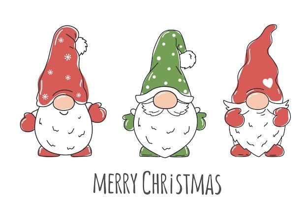 Kerst scandinavische kabouters met de woorden mappy christmas vector karakter