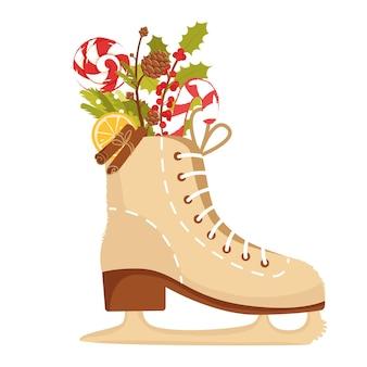Kerst schaatsen met geschenken geïsoleerd op witte achtergrond kerstcadeau candy holly branch
