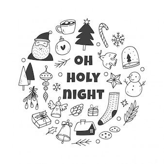 Kerst schattig doodle set