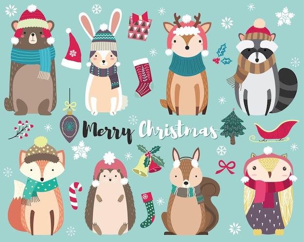Kerst schattige dierencollecties instellen