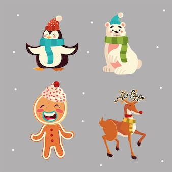 Kerst schattige pinguïn beer rendieren en peperkoek man pictogrammen illustratie